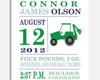 Green Tractor Birth Announcement Print - 8 x 10. 11 X 14, OR 13 x 19