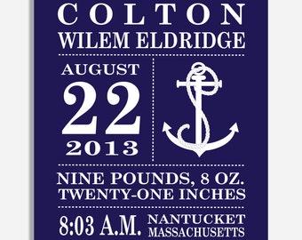 Birth Announcement Print -- Nautical Anchor  -- 8 x 10
