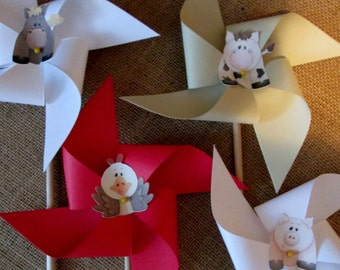 Paper Pinwheel in Farm Themed Designer Prints and Cute Farm Animal Pinwheels Set of 12 for a Birthday Party Baby Shower Summer Picnic
