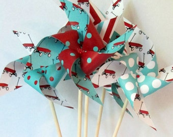 Red Wagon Favors Radio Flyer Favors Paper Pinwheels Red and Aqua Pinwheels Birthday Party Favors Baby Shower Favors Pinwheel Favor Kid's Toy