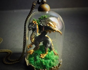 Dragon Black and Gold Dome - Terrarium - Pendant Necklace - Handmade - Art Jewelry