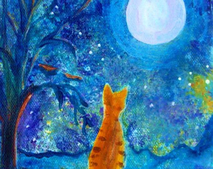 Cat on a Fence in the Moonlight Print