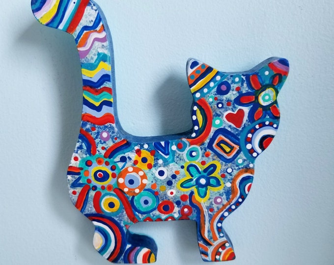 Cat painted wood shape