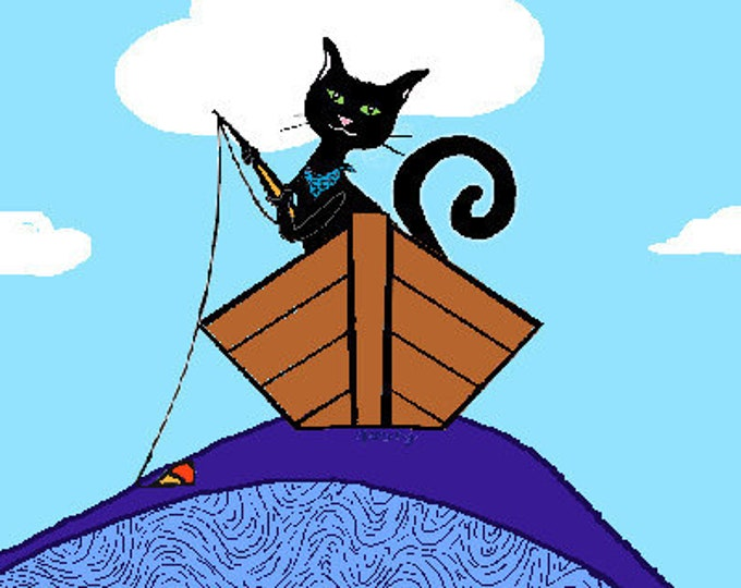 Cat Fishing Print Poster