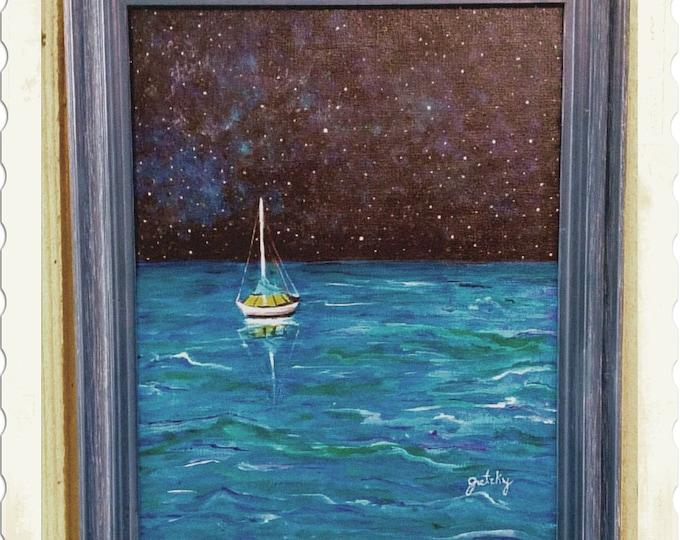 Sailboat Under the Stars Original Painting Free Shipping USA