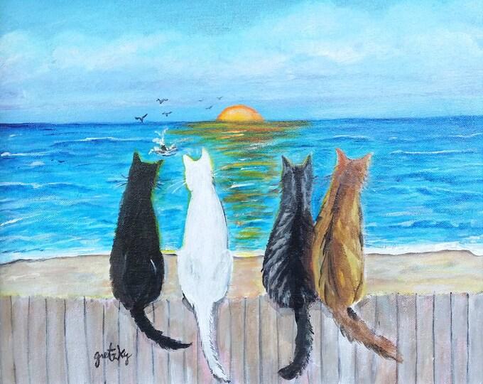 Cat Beach Sunset Print Poster