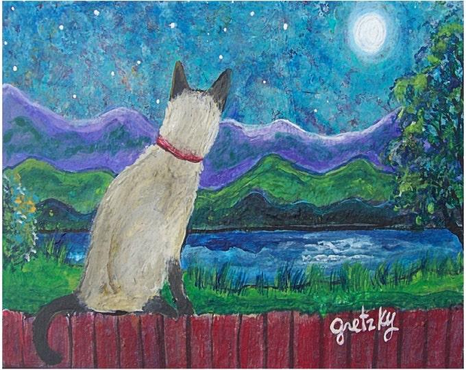 Siamese Cat in the Moonlight Print