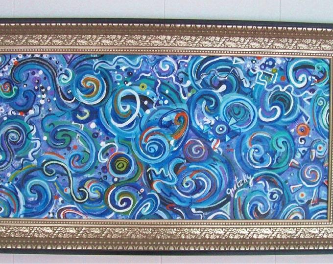 Aquatic Original Acrylic Painting Free Shipping USA