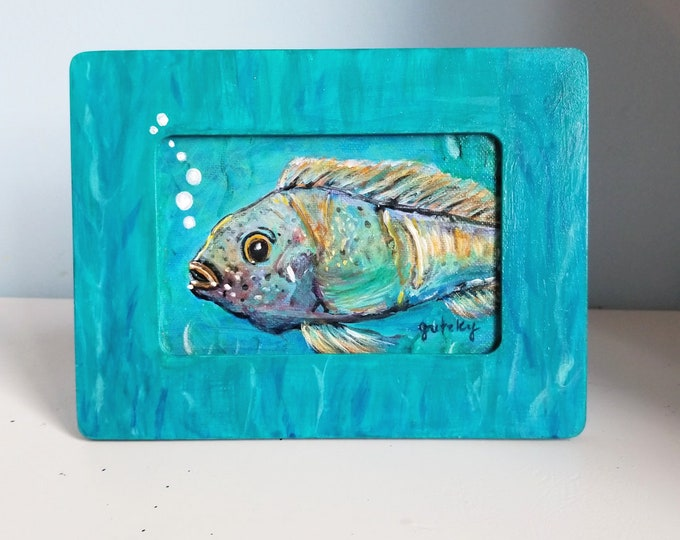 Fish painting in wood frame