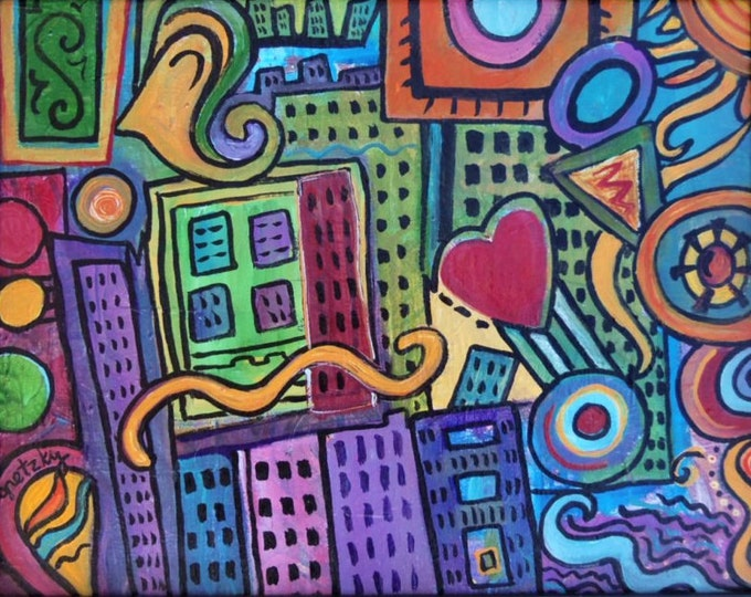 Pretty City Original colorful acrylic abstract Painting  Free Shipping USA
