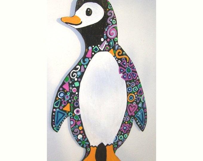 Penguin on wood  Free Shipping USA