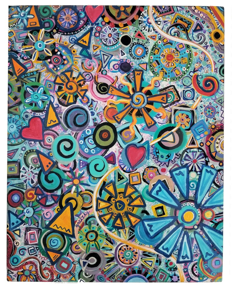 Happy Abstract Painting Original Acrylic Colorful Psychedelic image 0