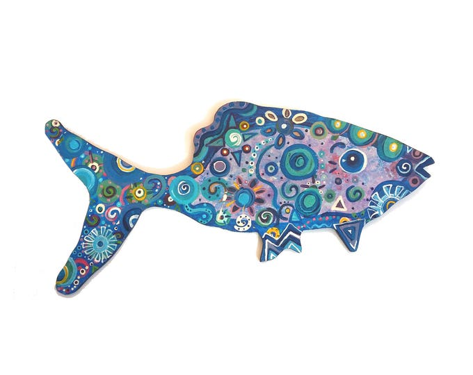 Fish painted wood shape Free Shipping USA