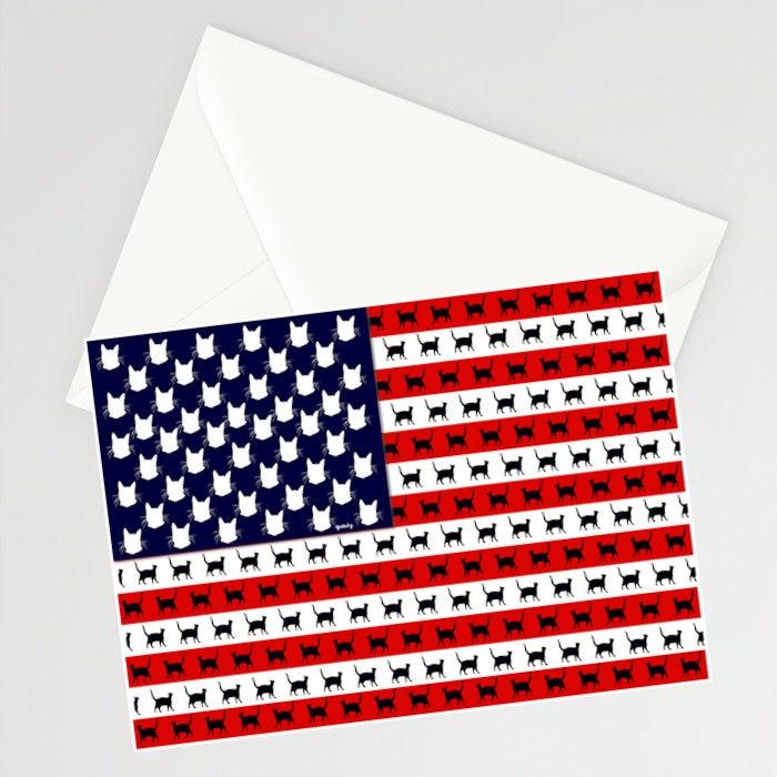 Cat flag printed greeting card m4hsunfo