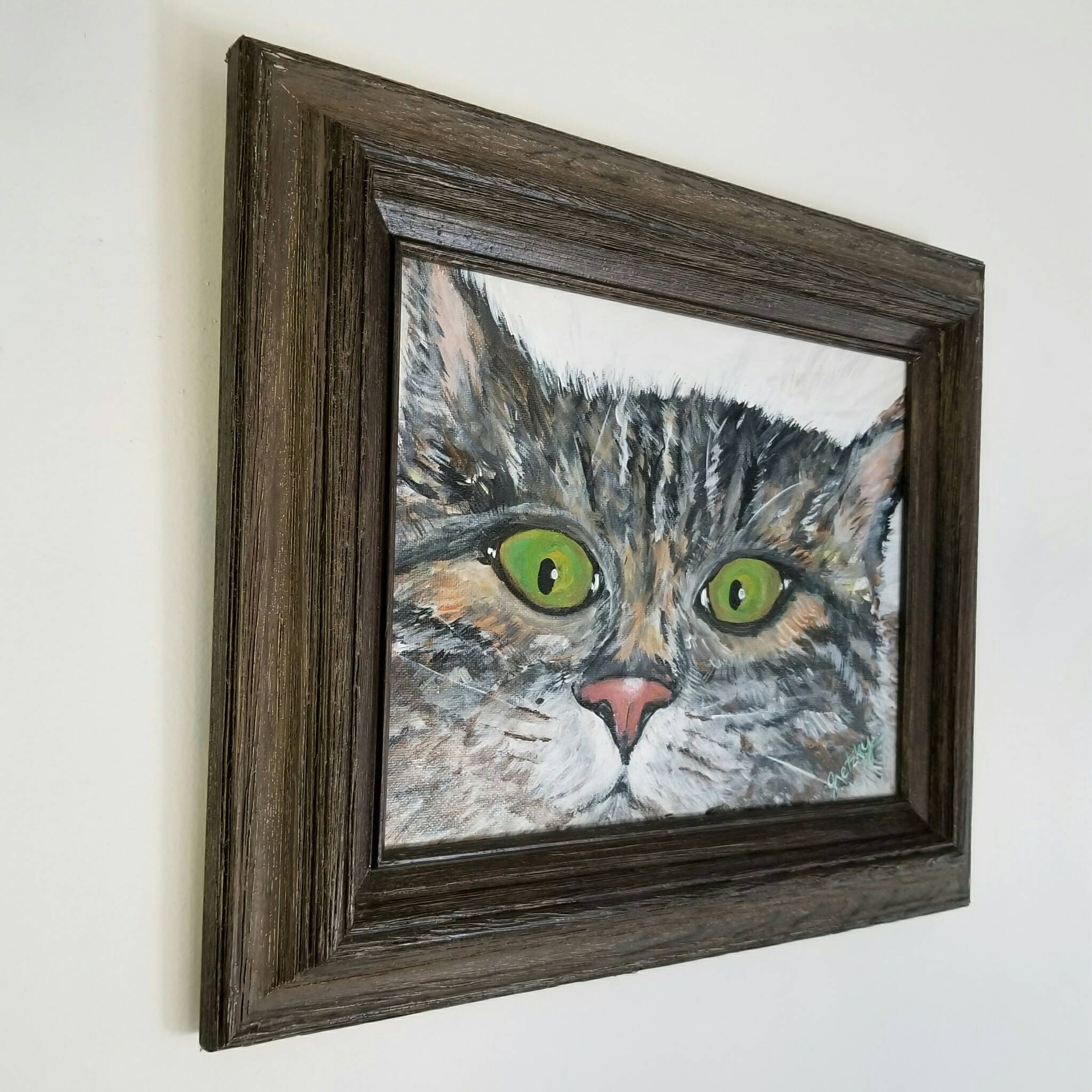 Cat watching you Original Acrylic Framed Painting Free Shipping USA