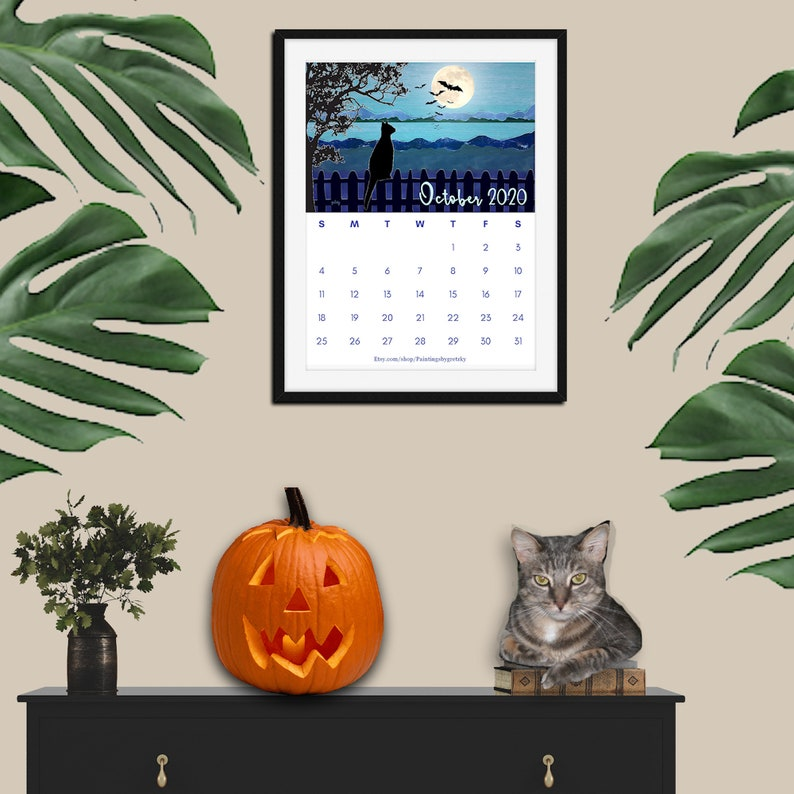 October Moon 2020 Cat Calendar digital download Printable image 0