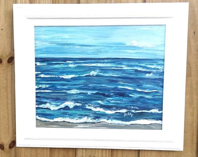 Choppy Ocean Original Acrylic Framed Painting Free Shipping USA