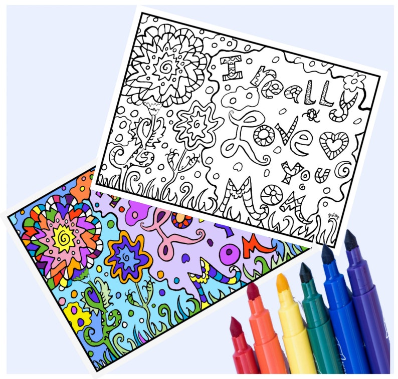 Mother's Day coloring printed Greeting Card image 0