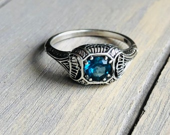Art Deco Ring -:- Sterling Silver - Genuine Stone of Your Choice - Filigree Vintage New Old Stock - Engagement Anniversary Birthstone Gift