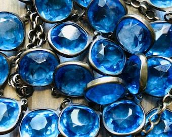 Incredible Blue Glass Necklace -:- Old Mine Cut Paste Stones  Set in Sterling Silver - Bezel  Open Back Art Deco  Flapper  Nouveau  Sapphire