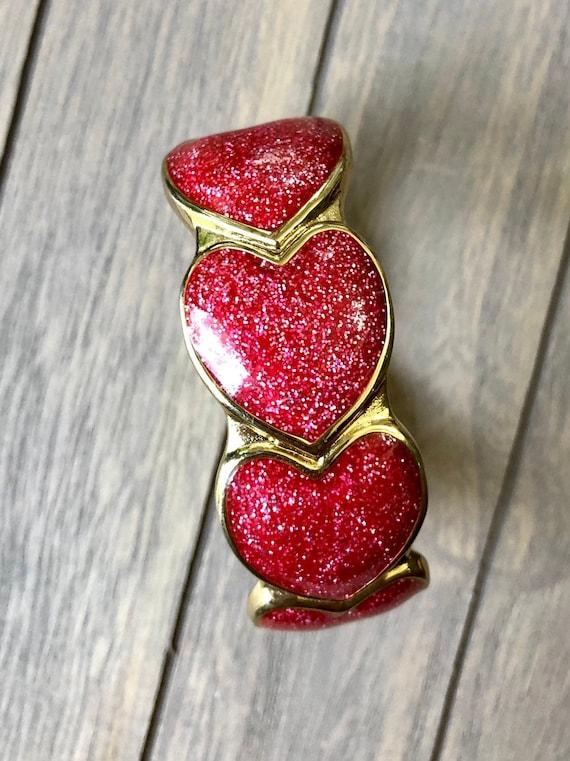 Vintage Bracelet -:- Enamel Glitter Heart Bracelet