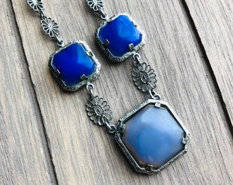 Vintage Art Deco -:- Chalcedony Lapis Lazuli Stones Chrome Plated Filigree Sterling Silver Chain - Art Nouveau Delicate Something Blue
