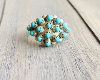 Vintage Turquoise Ring -:- Genuine Turquoise Cabochons - Petit Point - Boho Couture - Silver Handmade Vintage Summer Statement Ring