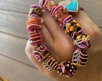 Handmade Lampwork Beads Murano Glass Beads by artist Christina Barton OOAK Jewelry Supplies Pride Rainbow Beads Unique Camp Chic Kiln