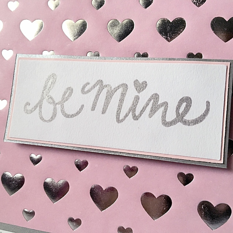 Be Mine Silver Pink Hearts Love Valentine/'s Day