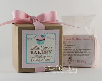 POLKA DOT BAKERY - One Dozen Personalized Cupcake Mix Birthday Party Favors