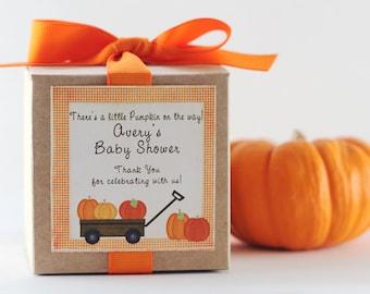 Baby Shower Favors | Pumpkin Baby Shower Favor | Fall Baby Shower | Autumn Baby Shower | Cupcake Box | Pumpkin Label | Cupcake Mix