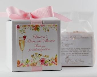 Baby Shower Favors  | Momosa Baby Shower Favor | Mom-osa Baby Shower | Floral Label | Cupcake Box | Baby Brunch | Champagne Brunch