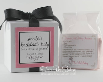 Bachelorette Party Favors  | Naughty Party Favor | Bachelorette Party | Black | Pink | Cupcake Box | Cupcake Mix | Personalized