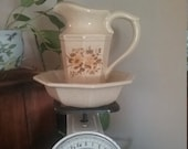 Small McCoy pitcher and basin, Mid Century, ceramic, speckled beige with flowers, Collectible pottery
