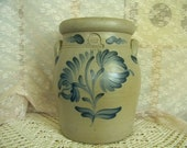 Rowe Pottery Tall Utensil Crock Salt Glaze Pottery Blue Flower Cambridge WI 1992 Kitchen Counter Farmhouse Decor Cottage Collectible