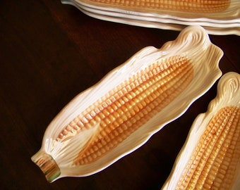 Set of 2 Vintage Brown Butter Drip Corn On The Cob Dishes Indian Corn