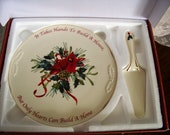 Lenox Christmas Cake Plate and Server Set, Winter Greeting in Original Box, Catherine McClung artist, Cardinal, Holly, Pinecones