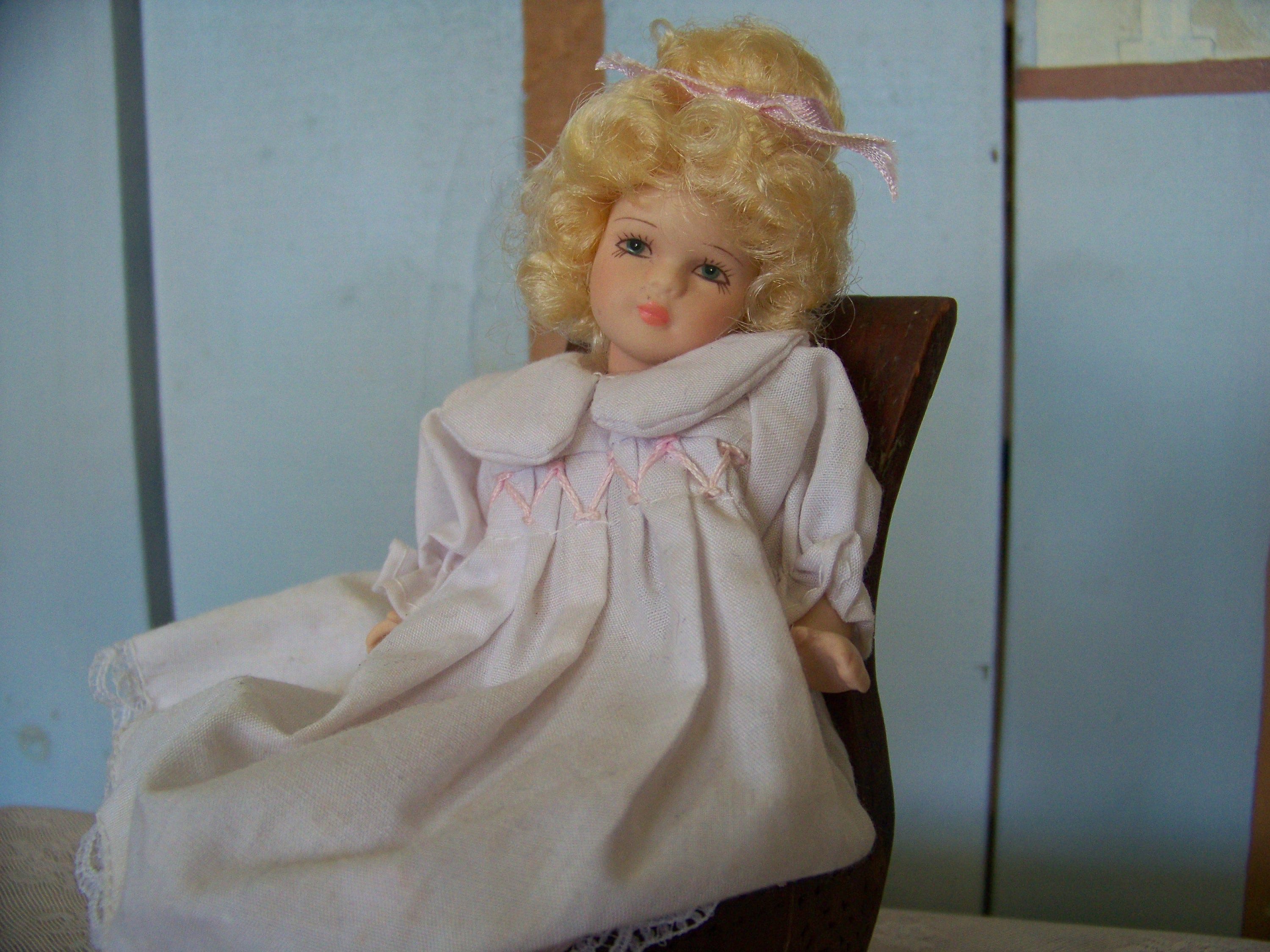 Dolls Two Vintage Delton Products Jointed Porcelain Mini Angel Dolls