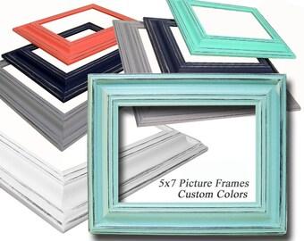 Picture Frame 5x7 Picture Frames 5x7 Picture Frame Custom Colors Distressed Wood Frames Nursery Wedding Collage