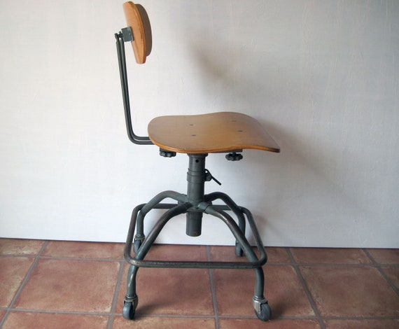 Sensational Vintage Mid Century Modern Industrial Adjustable Desk Chair Spiritservingveterans Wood Chair Design Ideas Spiritservingveteransorg