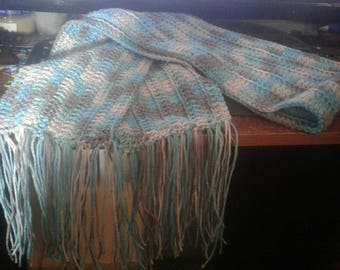 Made to order, scarf, crochet scarf, fringe scarf