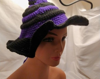 Twisted witch hat, striped, with bow