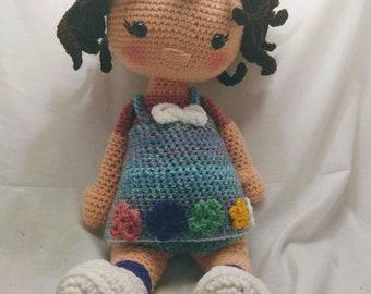 Ellie Doll, doll, amigurumi doll, crochet doll, ready to ship