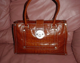 24a512414fd06 Michael Kors Brown Leather Croc Embossed Satchel Bag.