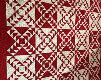 Quilt Red and White Flying Geese More Red Queen