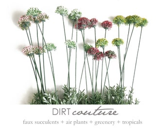 4 colors, Allium, faux, green seed heads, allium seeds, floral texture, green flowers, floral greenery, billy balls