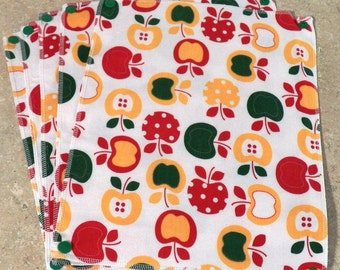 Red Delicious Apples- UnPaper Towels- Cleaning Cloths- Eco friendly- Set of 8 (inv #32003)