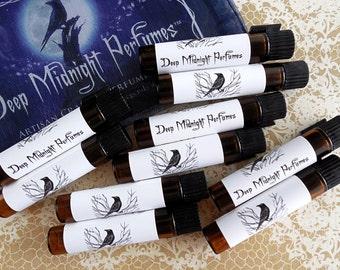 TEN PERFUME SAMPLES - Choose your own set - Deep Midnight Perfumes - artisan perfume oil