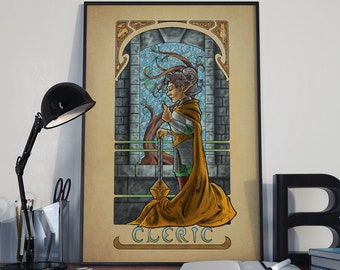 La Clerc - The Cleric - Print - Tabletop Nouveau Dungeons and Dragons Pathfinder