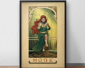 "La Moine - The Monk - 20""x30"" Print - Tabletop Nouveau Dungeons and Dragons Pathfinder Art Nouveau"